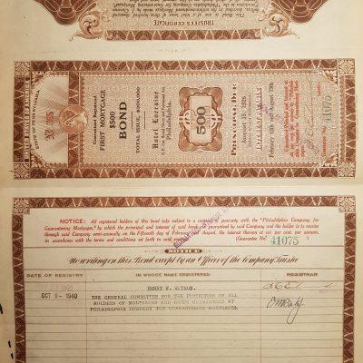 Hotel Lorraine 500 acciones tipo HIPOTECA de 1921
