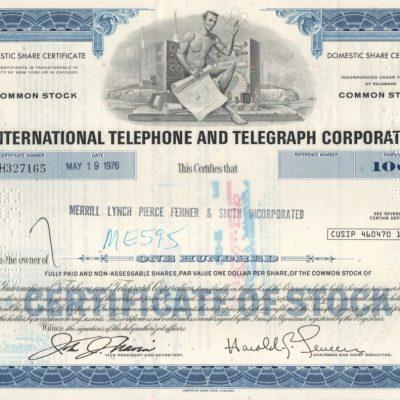 International Telephone & Telegraph Corp. 100 acciones tipo COMUN de 1976 / FIRMA MERRILL LYNCH