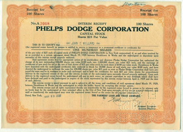 Phelps Dodge Corporation 100 shares